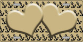 Gold Black Anchor Print With Gold Heart Center Wholesale Metal Novelty License Plate LP-5311