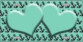 Mint Black Anchor Heart Center Wholesale Metal Novelty License Plate LP-5312