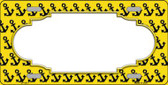 Yellow Black Anchor Print With Scallop Center Wholesale Metal Novelty License Plate LP-5317