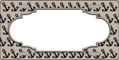 Tan Black Anchor Print With Scallop Center Wholesale Metal Novelty License Plate LP-5325