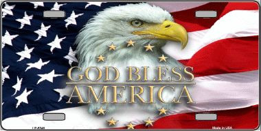 God Bless America Eagle Metal License Plate