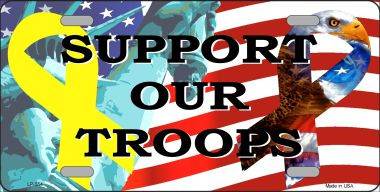 Support Our Troops Ribbon Metal License Plate