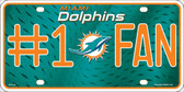 Miami Dolphins Fan Wholesale Metal Novelty License Plate