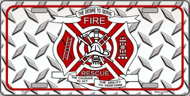 Fire Fighter Rescue Novelty Wholesale Metal License Plate LP-020