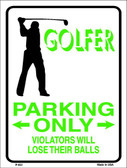 Golfer Parking Only Male Wholesale Metal Novelty Parking Sign P-653