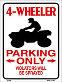4 Wheeler Parking Only Wholesale Metal Novelty Parking Sign P-849
