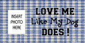 Dog Love Blue Plaid Photo Insert Pocket Wholesale Metal Novelty Small Sign SS-003