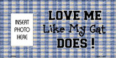 Cat Love Blue Plaid Photo Insert Pocket Wholesale Metal Novelty Small Sign