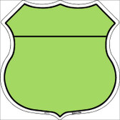 Lime Green|Black Plain Highway Shield Wholesale Metal Sign HS-013