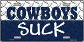 Cowboys Suck Novelty Wholesale Metal License Plate