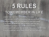 5 Rules In Life Wholesale Metal Novelty Parking Sign