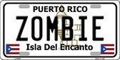 Zombie Puerto Rico Wholesale Metal Novelty License Plate LP-6869
