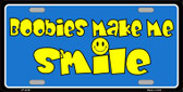 Boobies Make Me Smile Blue Wholesale Metal Novelty License Plate