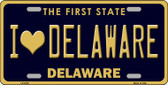 I Love Delaware Novelty Wholesale Metal License Plate LP-6730