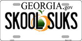 Skool Suks Georgia Novelty Wholesale Metal License Plate