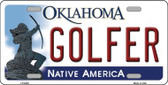 Golfer Oklahoma Novelty Wholesale Metal License Plate LP-6225