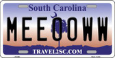 Meeooww South Carolina Novelty Wholesale Metal License Plate LP-6299