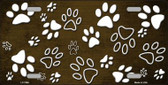 Brown White Paw Print Oil Rubbed Wholesale Metal Novelty License Plate