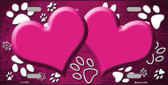 Paw Print Heart Pink White Wholesale Metal Novelty License Plate