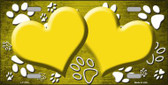 Paw Print Heart Yellow White Wholesale Metal Novelty License Plate