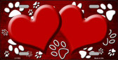 Paw Print Heart Red White Wholesale Metal Novelty License Plate