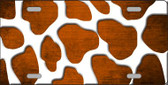 Orange White Giraffe Oil Rubbed Wholesale Metal Novelty License Plate