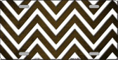 Brown White Chevron Oil Rubbed Wholesale Metal Novelty License Plate