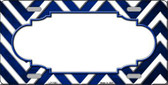 Blue White Scallop Chevron Oil Rubbed Wholesale Metal Novelty License Plate