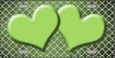 Lime Green White Quatrefoil Hearts Oil Rubbed Wholesale Metal Novelty License Plate
