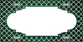 Green White Quatrefoil Scallop Print Oil Rubbed Wholesale Metal Novelty License Plate