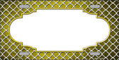Yellow White Quatrefoil Scallop Print Oil Rubbed Wholesale Metal Novelty License Plate