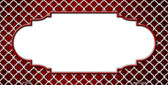 Red White Quatrefoil Scallop Print Oil Rubbed Wholesale Metal Novelty License Plate
