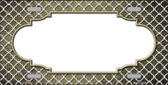 Gold White Quatrefoil Scallop Print Oil Rubbed Wholesale Metal Novelty License Plate