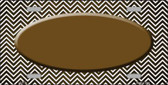 Brown White Small Chevron Oval Print Oil Rubbed Wholesale Metal Novelty License Plate