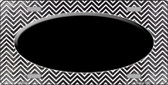 Black White Small Chevron Oval Print Oil Rubbed Wholesale Metal Novelty License Plate