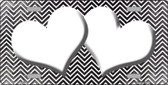 Black White Small Chevron Hearts Print Oil Rubbed Wholesale Metal Novelty License Plate