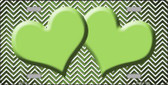 Lime Green White Small Chevron Hearts Print Oil Rubbed Wholesale Metal Novelty License Plate