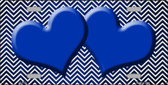 Blue White Small Chevron Hearts Print Oil Rubbed Wholesale Metal Novelty License Plate