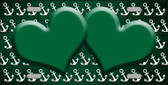 Green White Anchor Hearts Print Oil Rubbed Wholesale Metal Novelty License Plate