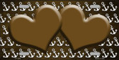 Brown White Anchor Hearts Print Oil Rubbed Wholesale Metal Novelty License Plate