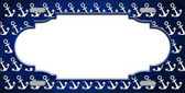 Blue White Anchor Scallop Print Oil Rubbed Wholesale Metal Novelty License Plate