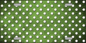 Lime Green White Small Dots Print Oil Rubbed Wholesale Metal Novelty License Plate