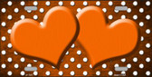 Orange White Small Dots Hearts Print Oil Rubbed Wholesale Metal Novelty License Plate