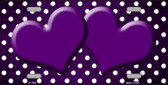 Purple White Small Dots Hearts Print Oil Rubbed Wholesale Metal Novelty License Plate