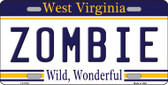 Zombie West Virginia Novelty Wholesale Metal License Plate