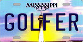 Golfer Mississippi Novelty Wholesale Metal License Plate
