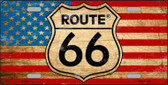 Route 66 American Flag Wholesale Metal Novelty License Plate