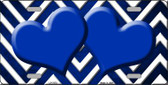 Blue White Hearts Chevron Oil Rubbed Wholesale Metal Novelty License Plate