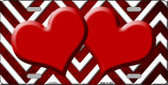 Red White Hearts Chevron Oil Rubbed Wholesale Metal Novelty License Plate
