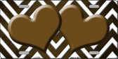 Brown White Hearts Chevron Oil Rubbed Wholesale Metal Novelty License Plate